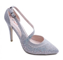 Ladies Silver Diamante Shoe Size 5