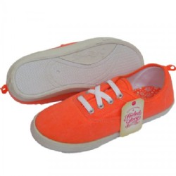 Orange flat sports Pumps Plimsolls Size 38