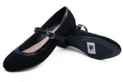 Kids Girls black dolly flat shoes