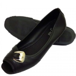 Ladies Black Slip on peep toe Shoes
