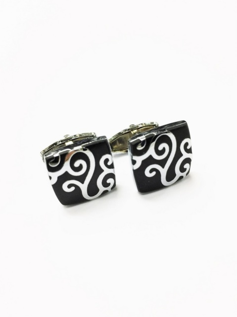 BLACK SILVER SWIRL CUFFLINKS (CL-9211)