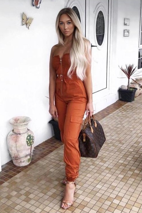 EJ026 UTILITY JUMPSUIT TOFFEE