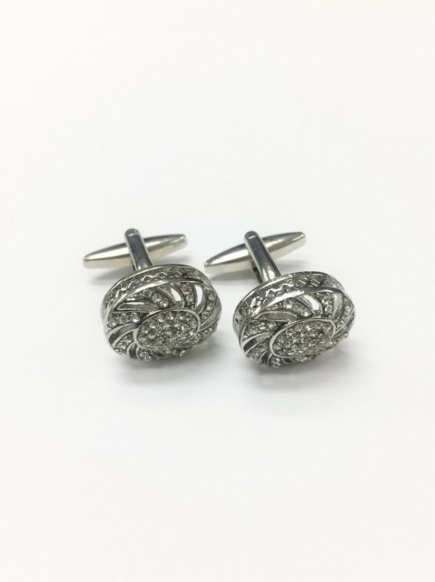 Oval Diamond Metal Cufflinks (CL-8767)