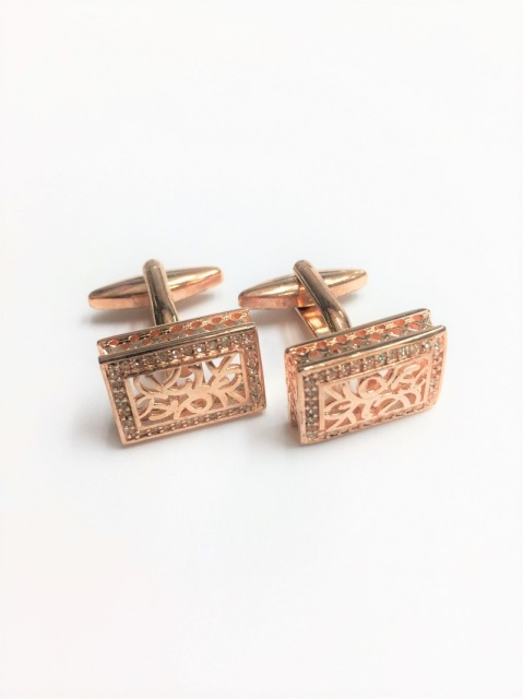 Rectangle Brass Plated Cufflinks (CL-8775)