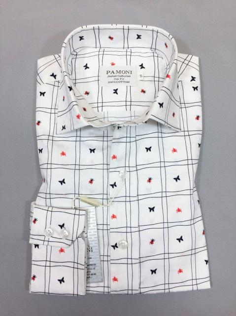 WHITE CHECK PRINT SLIM FIT SHIRT (MS558962)
